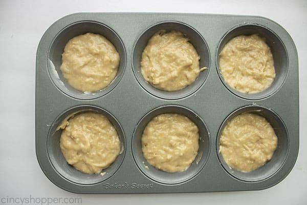 Banana muffin batter in pan