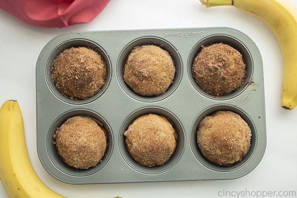 Banana Bread muffins in tin