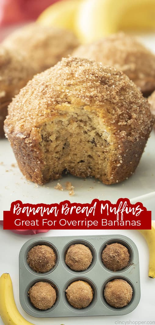 Long pin collage with text Banana Bread Muffins Great for Overripe Bananas
