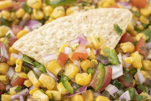Mexican corn salsa on a chip