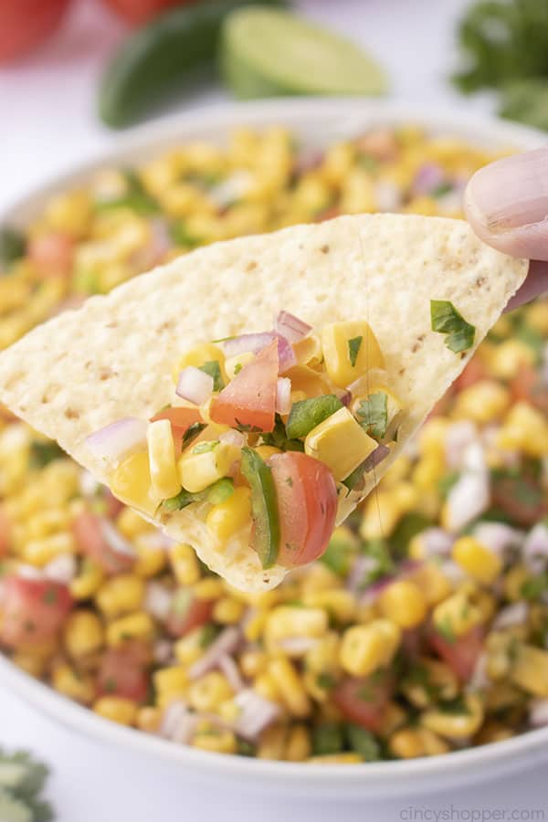 Fresh Corn Salsa on a tortilla chip