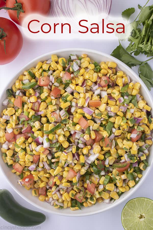 Text on image Corn Salsa
