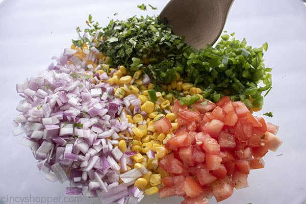 Chipotle Corn Salsa ingredients in a bowl
