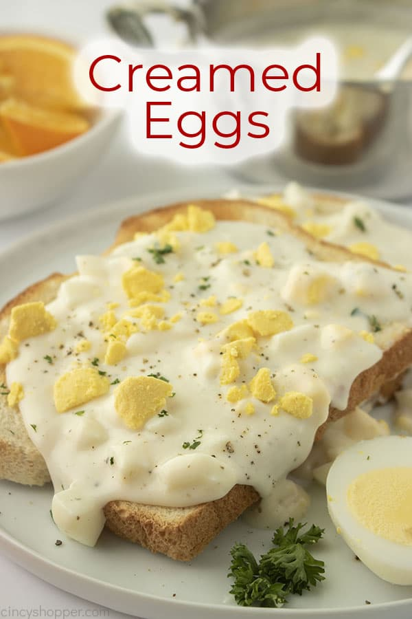 Text on image Creamed Eggs