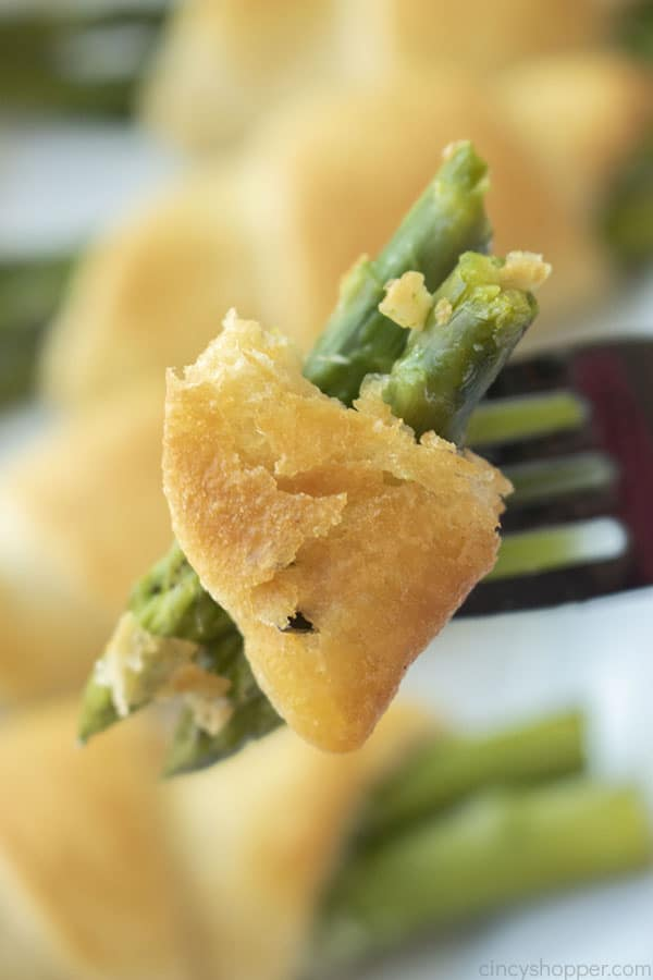 Crescent Baked Asparagus on fork