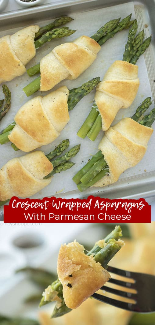 Long pin collage with text Crescent Wrapped Asparagus with Parmesan Cheese