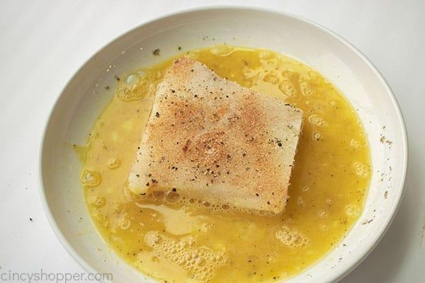 Seasoned fish in egg wash