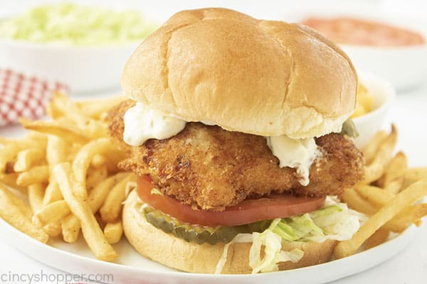 Fried fish sandwich with french fries