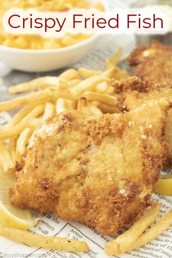 Text on image Crispy Fried Fish & Chips