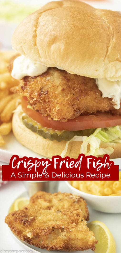 Long pin collage with text Crispy Fried Fish A Simple & Delicious Recipe