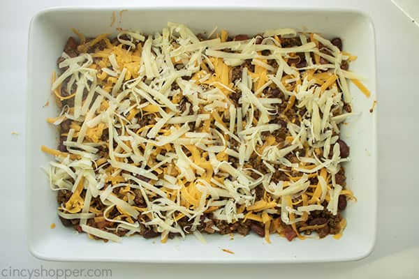Final cheese layer added to ground beef casserole