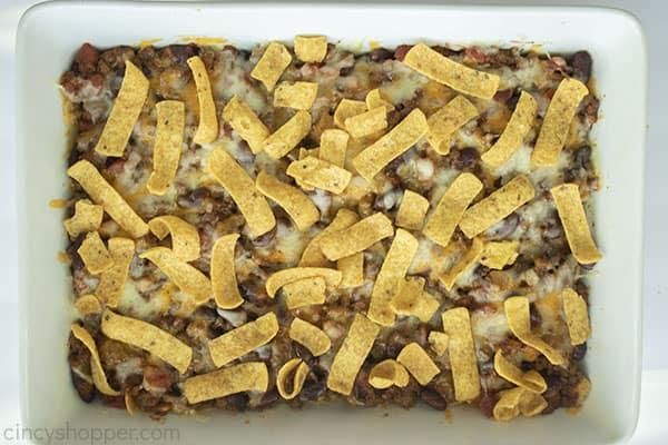Frito corn chips on top of chili bake