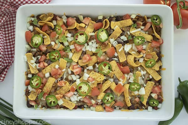Baked Frito Pie with toppings
