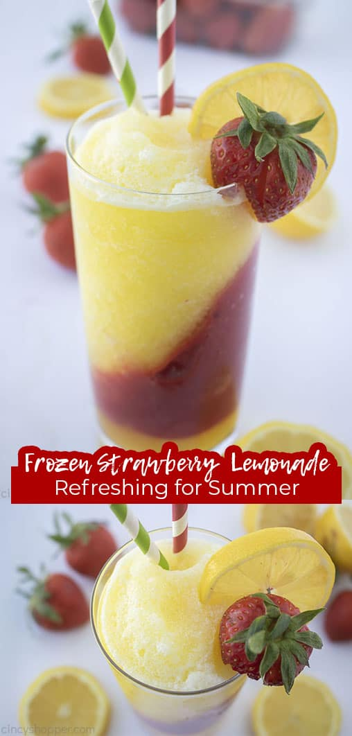 Long pin collage with text Frozen Strawberry Lemonade Refreshing for Summer