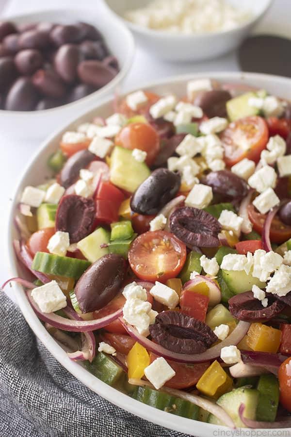 Fresh Greek Salad in a dish