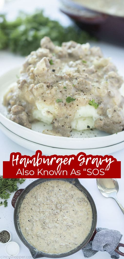 Long pin collage with text Hamburger Gravy Also Known as