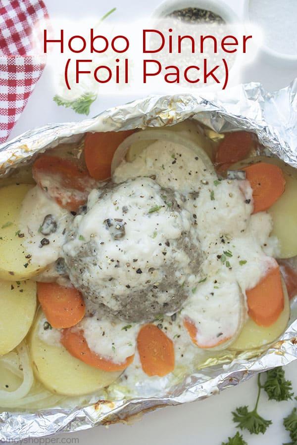 Text on image Hobo Dinner (Foil Pack)