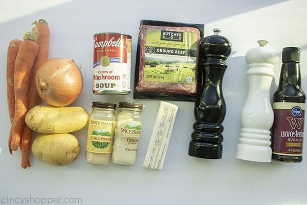 Ingredients for Hobo Dinner