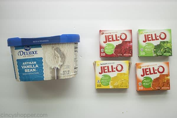Ingredients for Jello Ice Cream mold