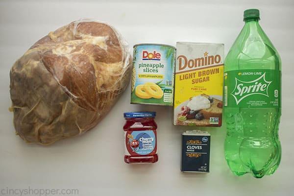 Ingredients for pineapple glazed ham