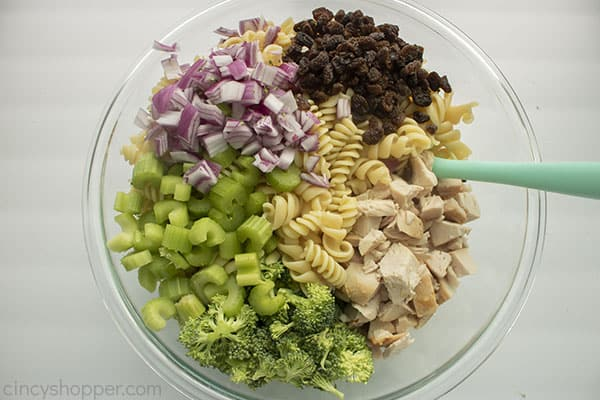 Pasta Salad ingredients in a bowl