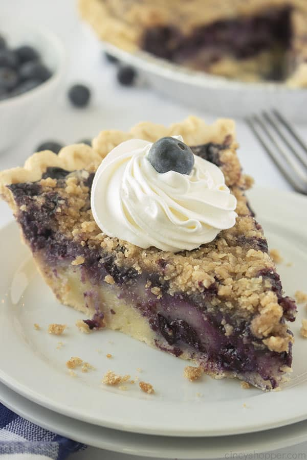 Creamy Blueberry Pie with Crumble Topping on a plate
