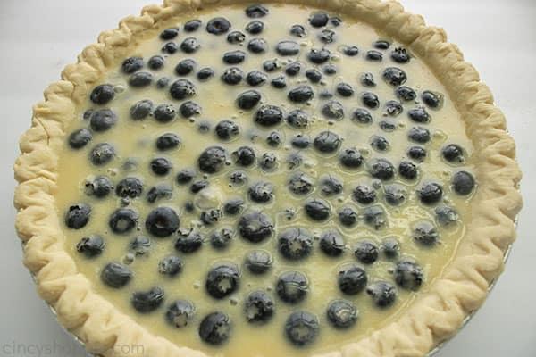 Prebaked creamy blueberry pie