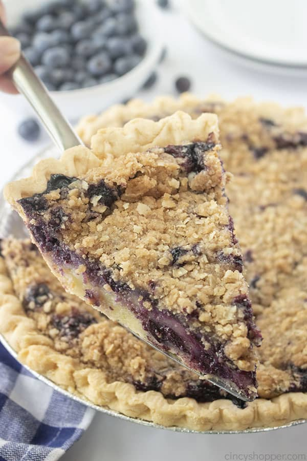 Homemade Blueberry Pie on a server