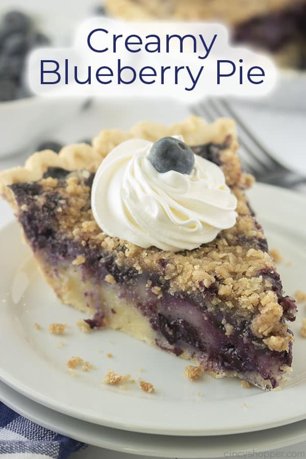 Text on image Creamy Blueberry Pie