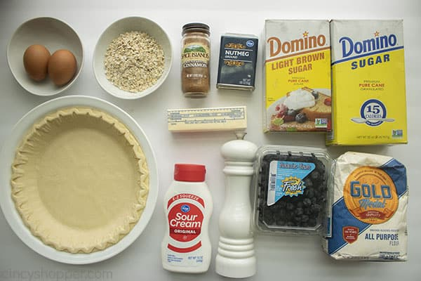 Ingredients for Creamy Custard Pie with Blueberries