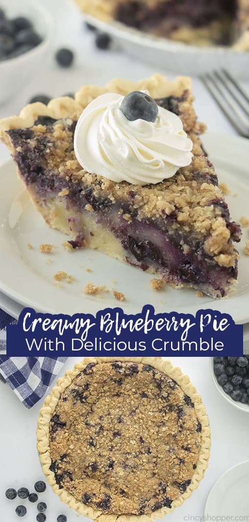 Long pin Creamy Blueberry Pie with Delicious Crumble