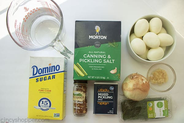 Ingredients to make pickle eggs