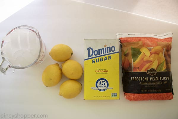 Ingredients for Peach lemonade frozen