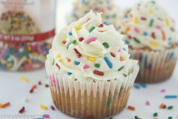 Homemade bithday cupcakes with sprinkles