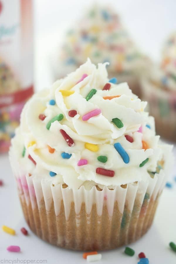 Homemade Birthday cupcakes with sprinkles