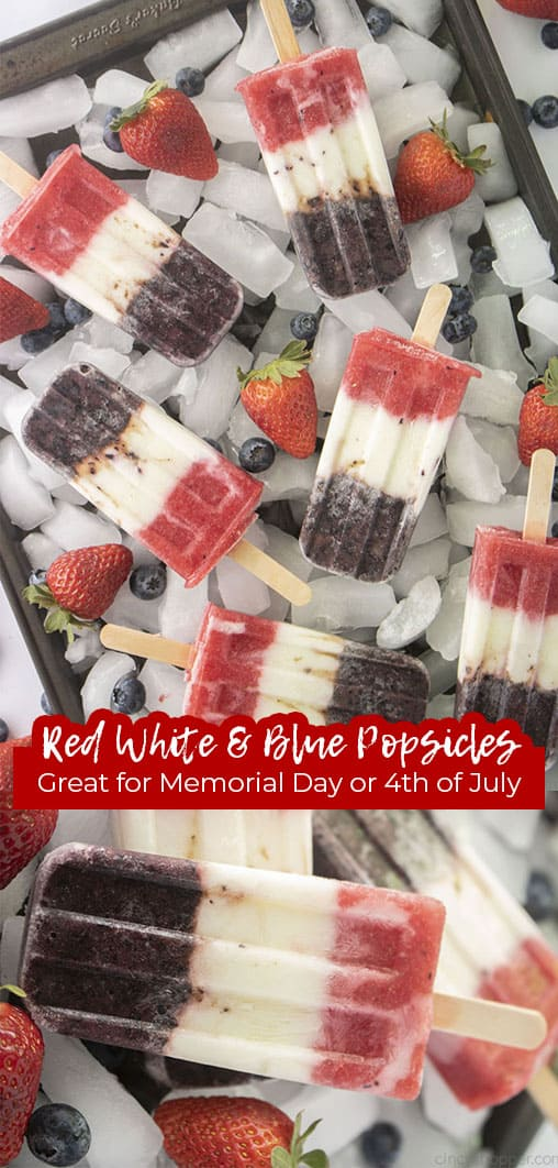 Long pin collage Red White and Blue Popsicles Great for Memorial Day or 4th of July