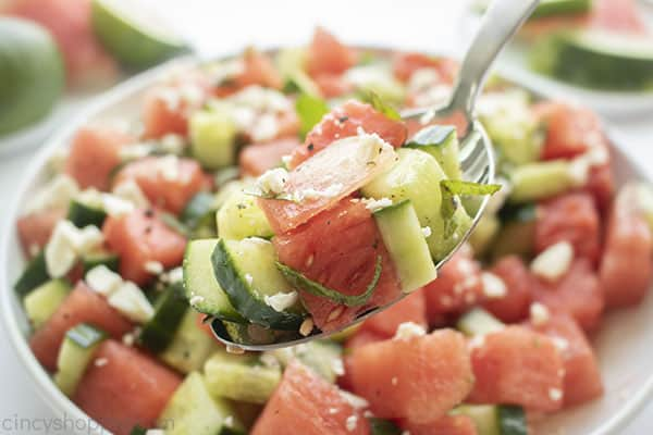 The best Watermelon salad on a spoon
