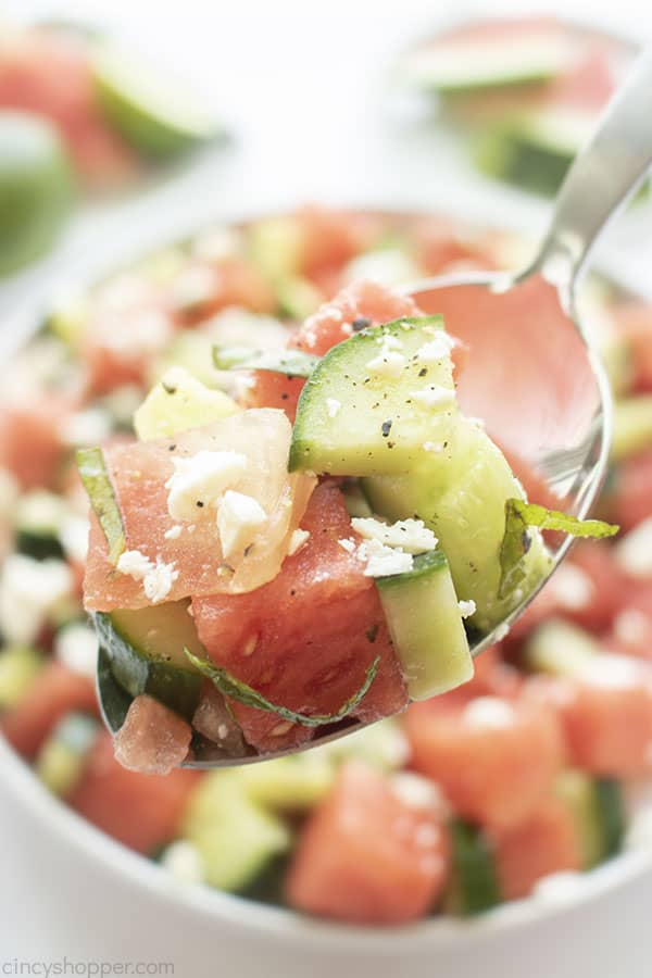 Watermelon Salad with feta cheese on a spoon