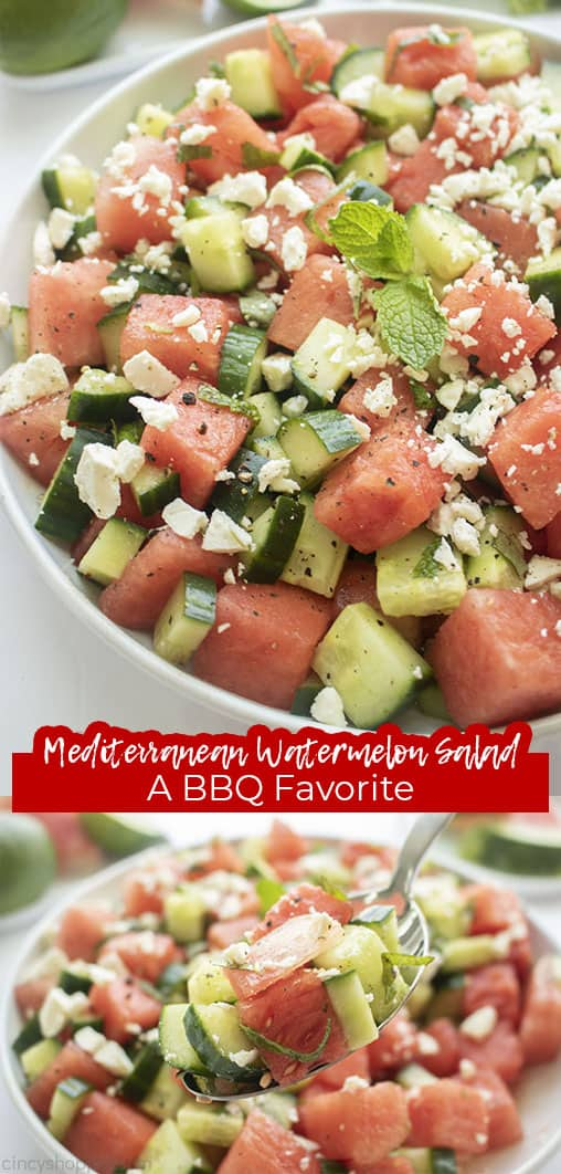 Long pin with text Mediterranean Watermelon Salad A BBQ Favorite