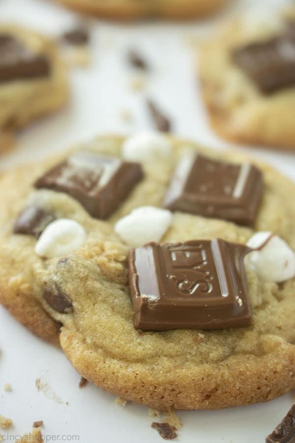 closeup of Smores Cookies