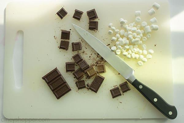 Chopped chocolate bars and halved mini marshmallows