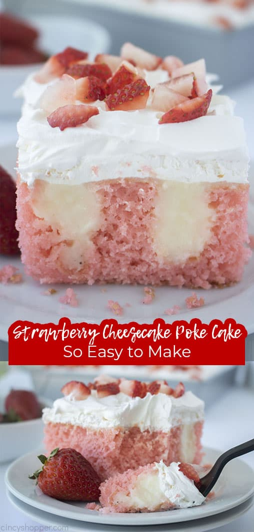 Long pin with text Strawberry Cheesecake Poke Cake So Easy to Make