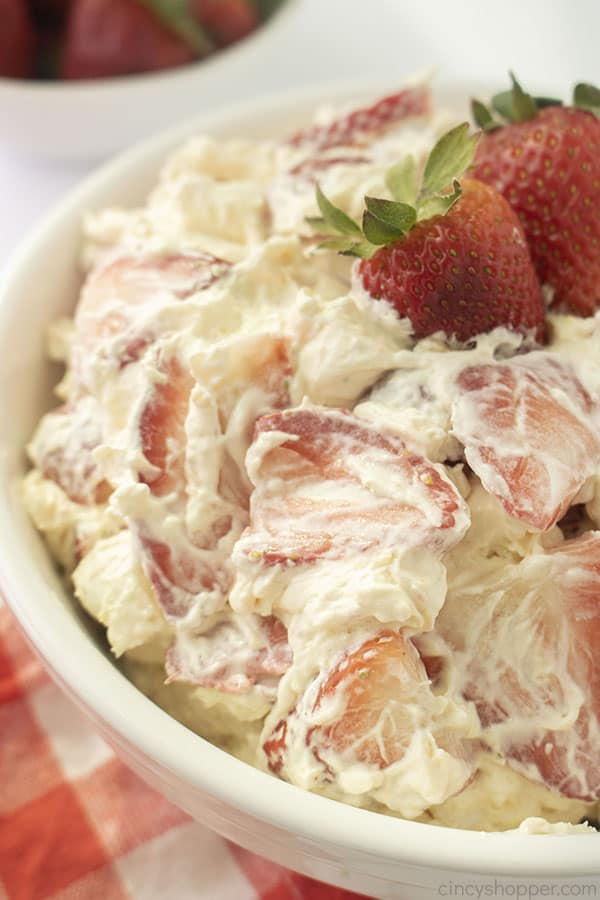Strawberry Cheesecake Salad in a bowl
