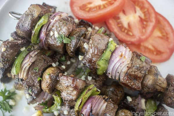Grilled Steak Kebabs with mushrooms, onions, and peppers
