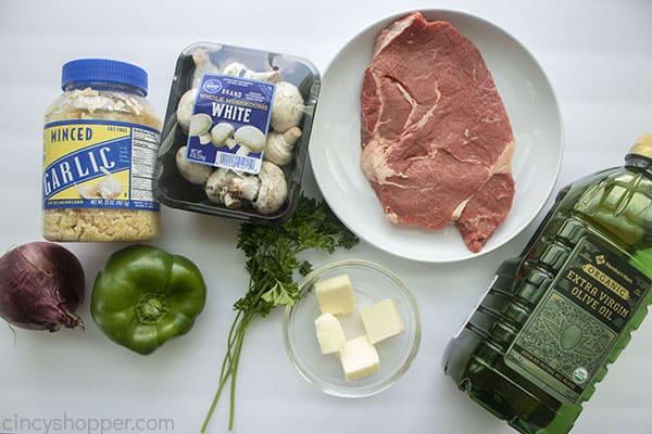 Ingredients for steak kebabs