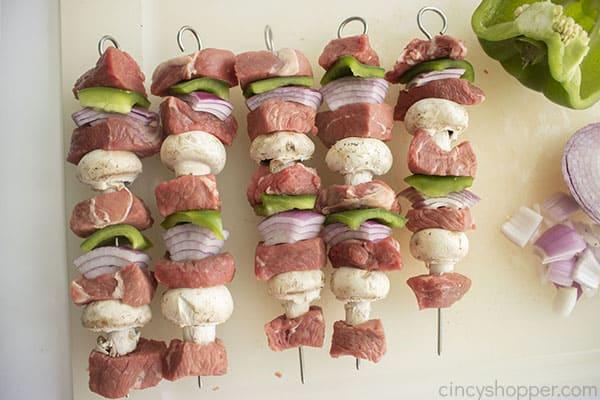 Assembled steak kebabs