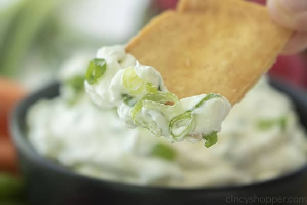 Green onion dip on a pita chip