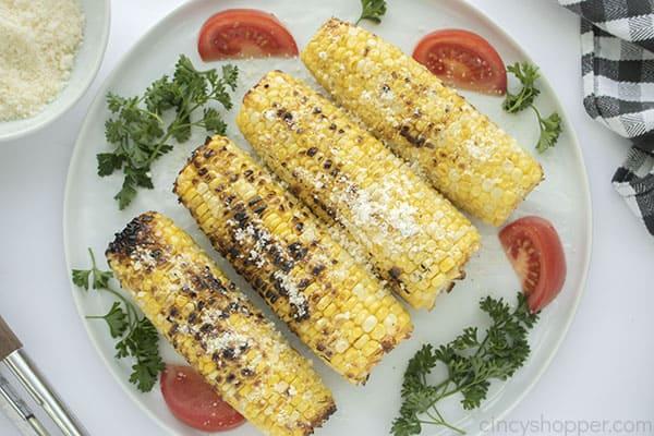 Parmesan corn on a plate