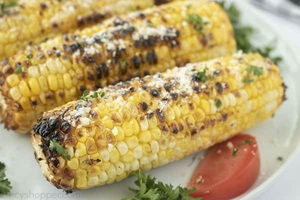 Fresh corn on the cob grilled