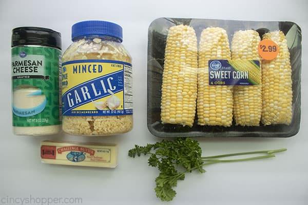Ingredients to make Parmesan Grilled Corn